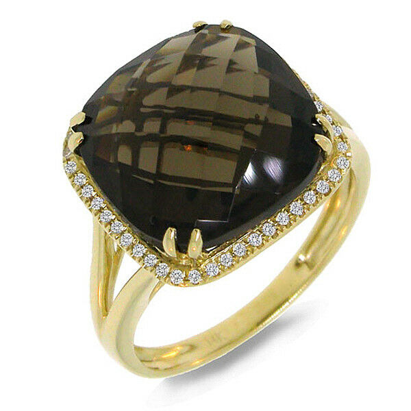 8.74 TCW 14K Yellow Gold Cushion Smoky Quartz Gemstone