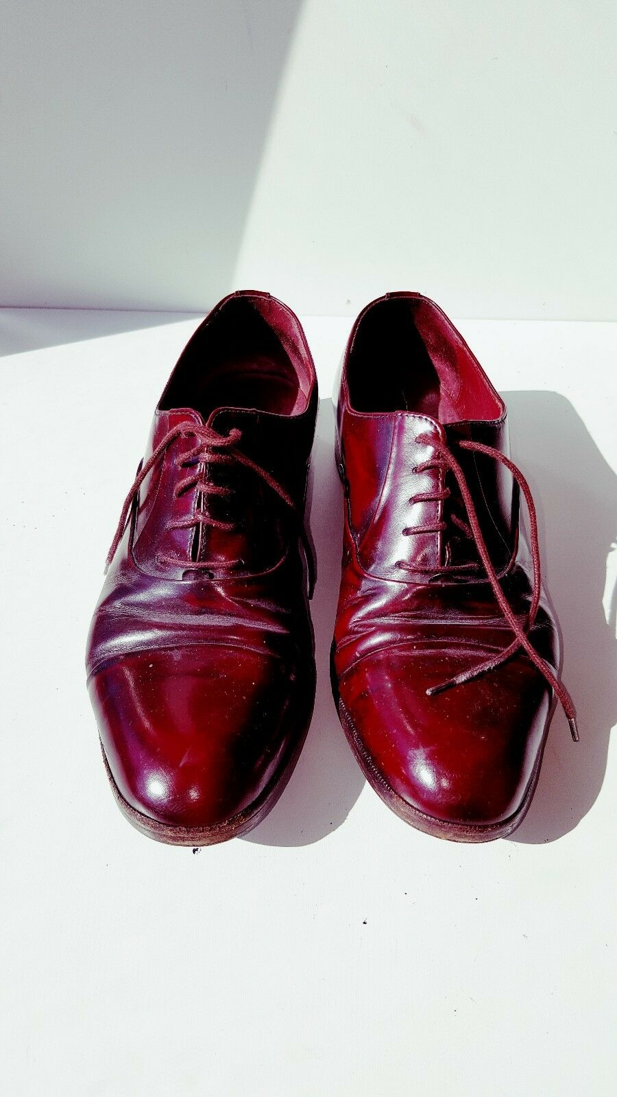 MARIO BRUNI BURGANDY Pelle Oxfords Dress Shoes Burgundy, Italy