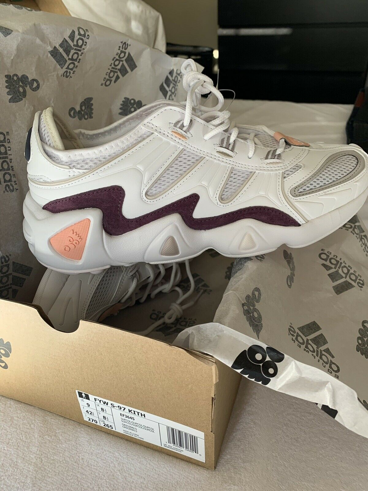 finest selection 76f5c 51416 Kith X Adidas FYW S-97 White Purple Pink Ronnie Fieg