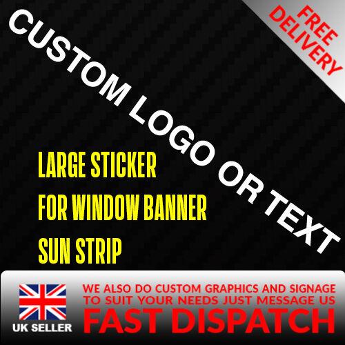 Un Texte Personnalisé//BRAND Sticker Badge Pour Sun Bande Autocollant Vinyle Bannière sponsor Visière