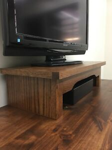 Led Tv Riser Soundbar Stand In Mission Style Oak Wood Ebay