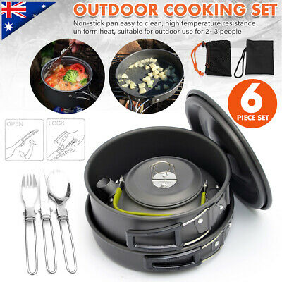 8pcs Set Portable Camping Cookware Kit Outdoor Fishing Backpacking Cooking Gear Ebay