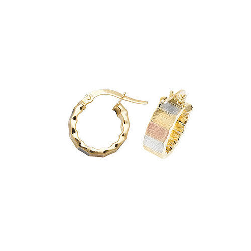 9ct pink White & Yellow 10mm Ribbed Hoop Earrings