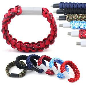 Pulsera-Paracord-Micro-USB-IOS-carga-rapida-cable-de-sincronizacion-de-datos-para-iPhone-Android