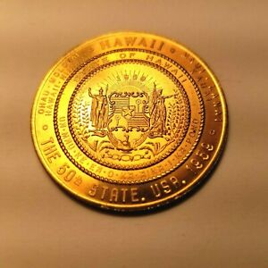 1900 Hawaii Becomes a Territory Franklin Mint Solid Bronze Medal Uncirculated