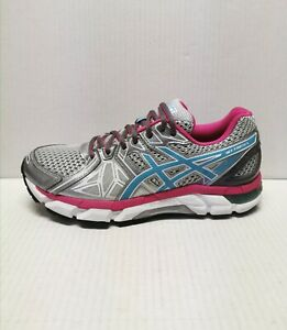 ASICS GEL FORTIFY WOMENS Silver Pink Run Walk Train Shoes Sz