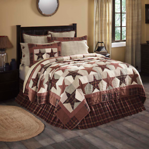 ABILENE-STAR-QUILT-SET-choose-size-amp-accessories-Rustic-Plaid-VHC-Brands