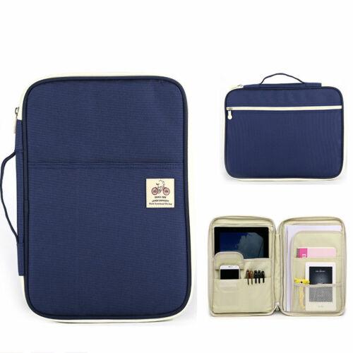 Travel A4 Portfolio Zipped Conference Folder Document Case Bag File Organiser UK