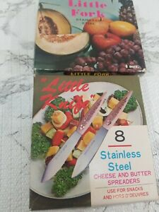 Stainless-Little-Knives-8-Spreaders-plus-Little-Forks-12-Vintage
