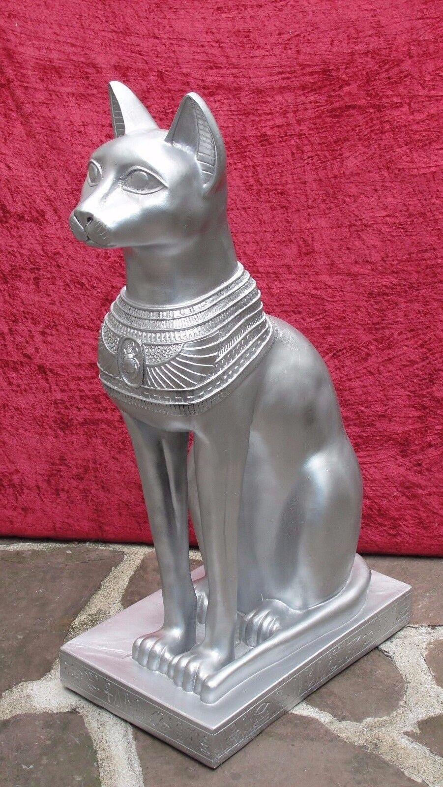 Ägyptische Katze Figur Bastet Wohnen Dekoration Skulptur Groß Silber Optik