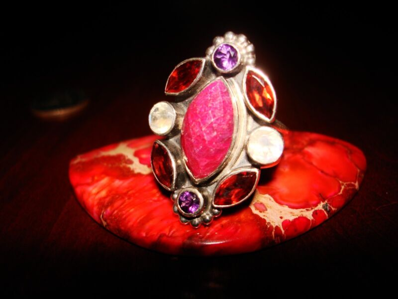 Size 6.25 U.S mughal gems /& jewellery 925 Sterling Silver Ring Natural Peach Moonstone Gemstone Fine Jewelry Ring