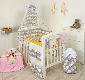 Image Is Loading Elephant Grey Yellow Baby Bedding Set Cot