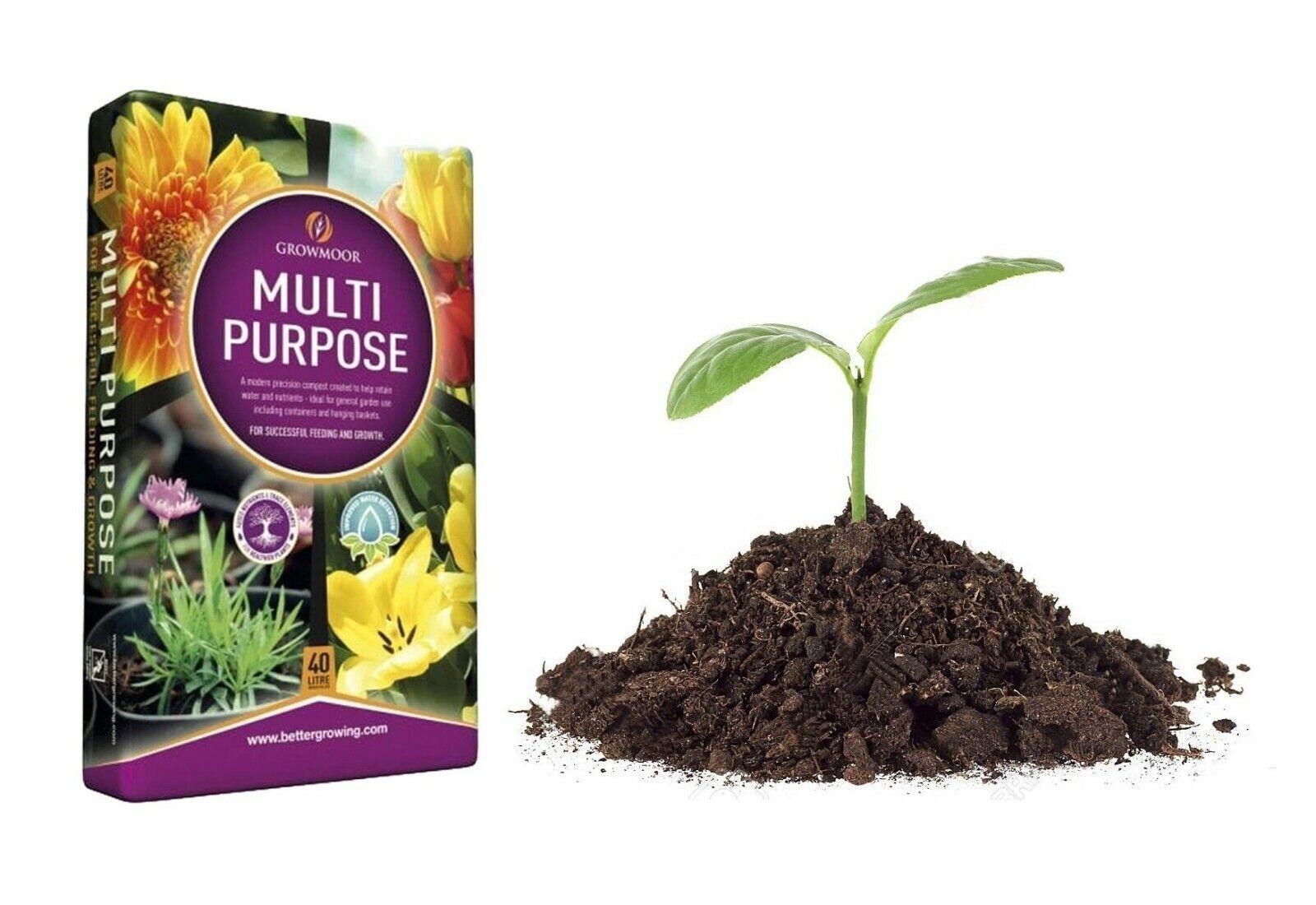 40L Growmoor Multi Purpose Plant Care Compost Soil Basket Garden Flower Pot Loam