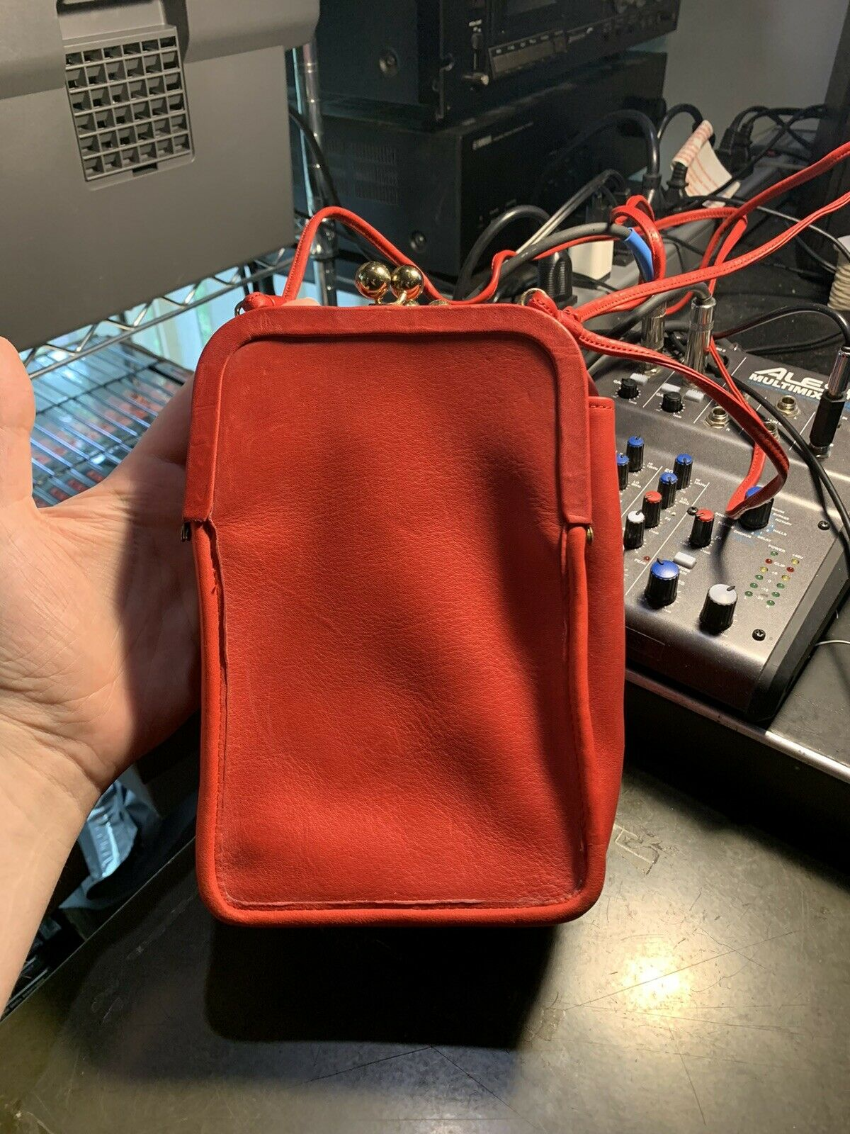 Vintage Red Coach Double Kisslock Swing Bag Pre R… - image 1