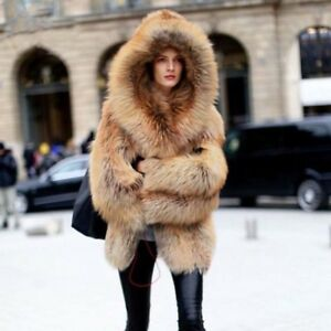 fbb0dada1343c Luxury Women 100% Natural Real Red Fox Fur Coat Hooded Winter Thick ...