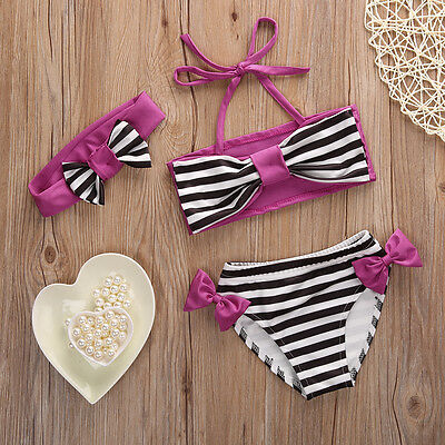 Kids Baby Girl Bikini Suit Swimwear Swimsuit Striped Bowknot Bathing Swimming