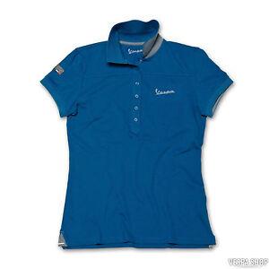 Vespa-Women-039-s-Original-Short-Sleeve-Polo-Shirt-Turquoise-Blue-New-RRP-49-99