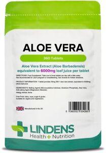 Aloe Vera 6000mg skin, hair & joint health, detox (360 tablets) [Lindens 4265]