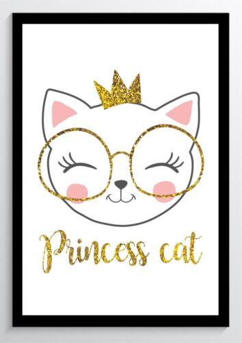 Princess Cat Katze Kunstdruck Poster ungerahmt Bild DIN A4 A3 K0440