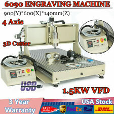 Usb 15kw 4 Axis 6090 Cnc Router Engraver 3d Cutter Drillingmilling Machine Vfd
