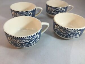 Set-of-4-Currier-amp-Ives-American-Homestead-Buggy-Ride-Teacup-Teacups-By-Royal