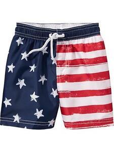 a8a860f531 NWT Old Navy USA Patriotic Flag Stars Stripes Swim Trunks Short UPF ...