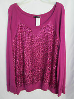 Oleg Cassini Sport Womens 1x Cotton/rayon Pink Sequined Tee Blouse