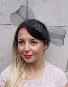 Black Diamante Velvet Net Bow Teardrop Fascinator Hair Clip Hat Races Vtg 2745