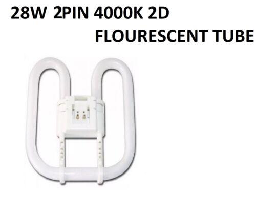 2X FLUORESCENT 2D TUBE 28W 2PIN 4000K 3306 1850 LUMENS 220-240V 8000HRS 4000K