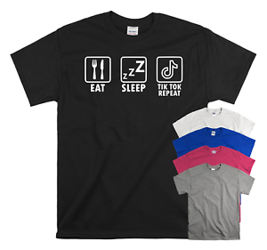 Eat Sleep Tik Tok Repeat Funny Children's Kids T-Shirt Birthday TIK TOK Gift