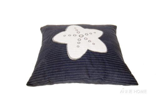 """Throw Pillows Navy Blue w// White Starfish 16/"""" Set of 2 Beach House Coastal Decor"""