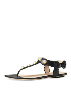 e5e16a03aa2 New GUCCI Auth Willow GG Pearl Thong Sandal Leather Studs Flat Shoe ...