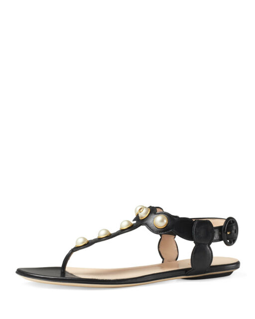 7f6f1cb80b31 New GUCCI Auth Willow GG Pearl Thong Sandal Leather Studs Flat Shoe Black  35 5