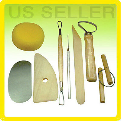 8 pcs Clay Pottery Ceramics Sculpting Modeling Wooden Handle Tool Set