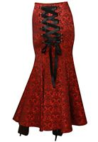 Plus Size Long Gothic Fishtail Corset Laced Skirt Red Jacquard Sz 14/16 To 28