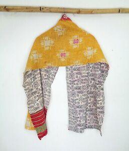 Kantha-Reversible-Soft-Scarf-Cotton-Stole-Women-Shawl-Hand-Stitch-Neck-Wrap-SN47