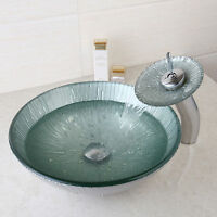 Uk Bathroom Tempered Glass Sink Basin Washing Bowl Faucet Mixer Taps Toilet Set