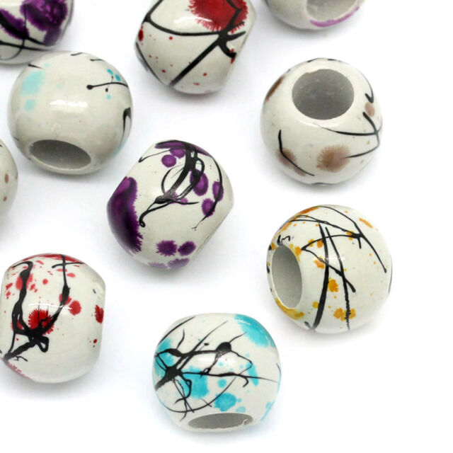 50 PCs Acrylic Spacer Beads Round Flower Painting Mixed 16mm Dia. Jewelry Making
