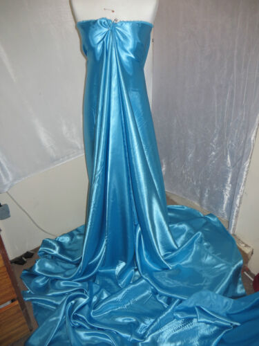 """1M BRIDAL DRESS SATIN TURQUOISE  COLOURED FABRIC  58/"""" WIDE"""