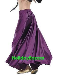 Multi Color 9 Yard Satin Full Circle Skirt BellyDance Gypsy Tribal Flamenco Jupe