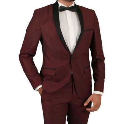 Slim Fit Herren Smoking in Blau•Bordeaux•Grau•Schwarz-Herrenanzug-Anzug-Hochzeit