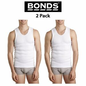 856ff4f87c1e1 Mens Bonds Chesty Singlets 2 PACK Muscle Tank Top White Work Tough ...