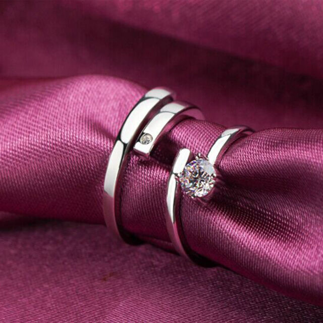 Lover Silver Crystal Couple Rings Men and Women Promise  Korean Version Together