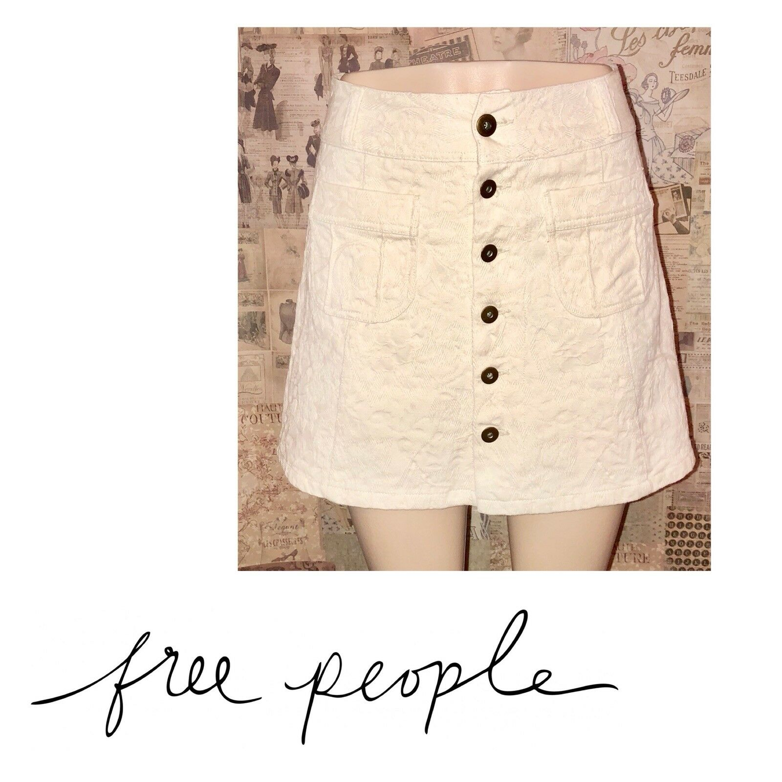 Free People Off White Button Down Skirt, Size 2