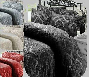 EMBOSSED-DAMASK-TEDDY-BEAR-FLEECE-Duvet-Cover-Pillow-Case-Warm-Cozy-All-Size