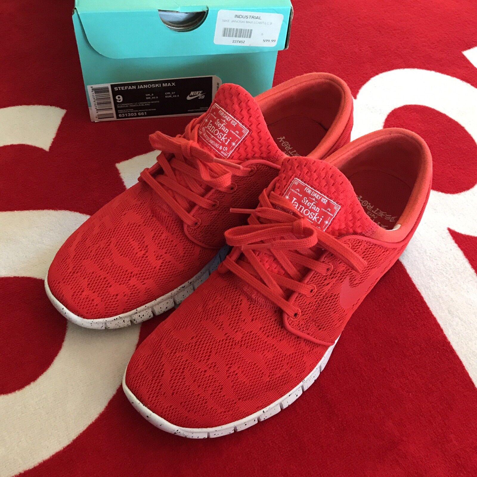 Nike SB Stefan Janoski Air Max Crimson Red 631303-661 Mens Sz 9 RARE