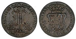 6-CUARTOS-Cu-ISABELLA-II-ISABEL-II-CATALUNA-ESPANA-1838-VF-MBC-INTERESANTE