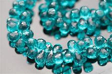 Peacock Blue Green Quartz Facet Tear Drop Briolette 9 - 10 mm 6 Gemstone Beads