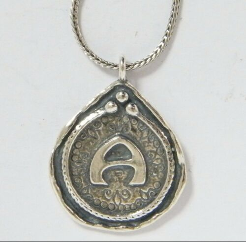 N02443 Shablool Didae 925 Silver Necklace A Letter Initial Vintage Pendant