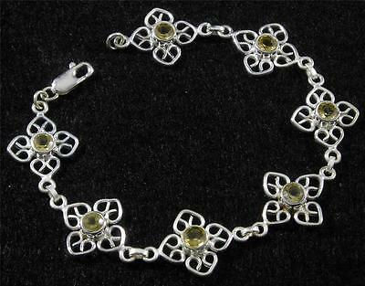 .925 Sterling Silver Filigree Flower Round Faceted Lemon Topaz Bracelet 7 3/4""